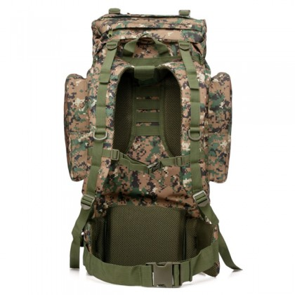 Deltacs 65 Litre Large Camping/Hiking Backpack - Digital Woodland