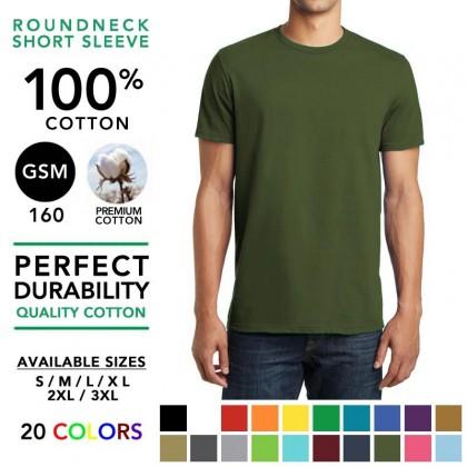 100% Cotton 160GSM Round Neck Basic T-Shirt Plain Tee Tshirt